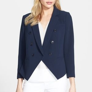 chelsea 28 navy angular hem double breasted blazer